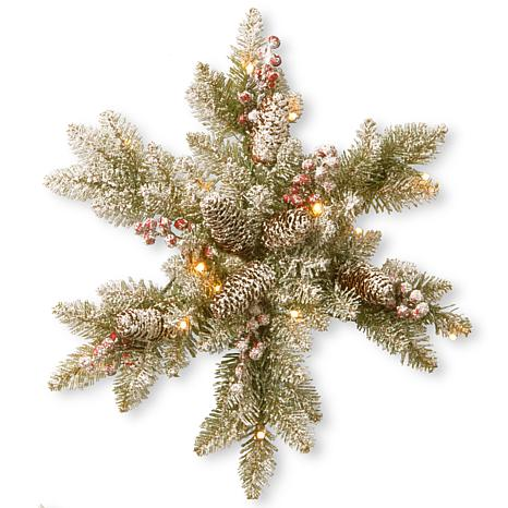 """18"""" Snowy Dunhill Fir Snowflake with LED Lights"""