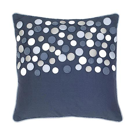 "18"" x 18"" Button Pillow - Black/Silver"