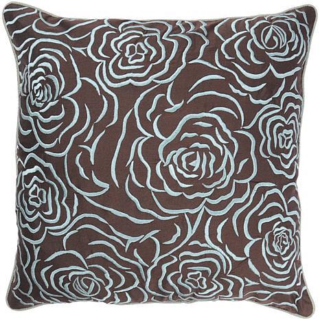 "18"" x 18"" Rose Pillow - Aqua/Brown"