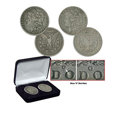 "1880 and 1899 Uncirculated O-Mint ""Micro O"" Morgan Silver Dollar Set"