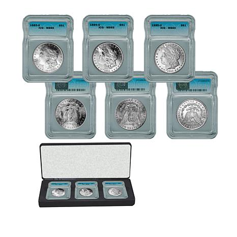 1883-1885 MS65 ICG New Orleans Mint Morgan Silver Dollar 3-Coin Set