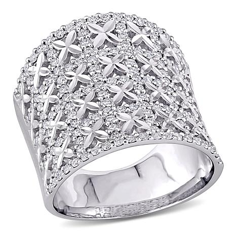 18K White Gold 1.16ctw Diamond Wide Cluster Ring