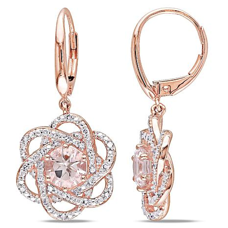1 94ctw Pink Morganite And White Diamond 14k Rose Gold Earrings