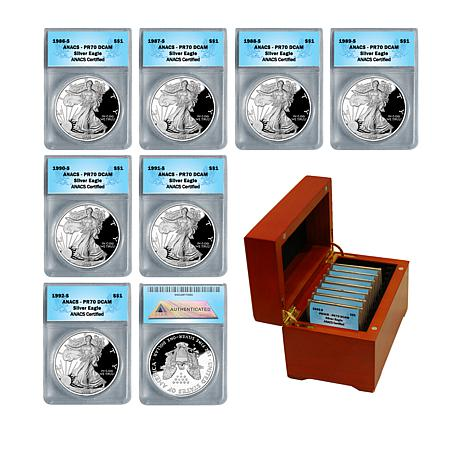 1986-1992 S-Mint PR70 ANACS Set of 7 Silver Eagle Dollar Coins