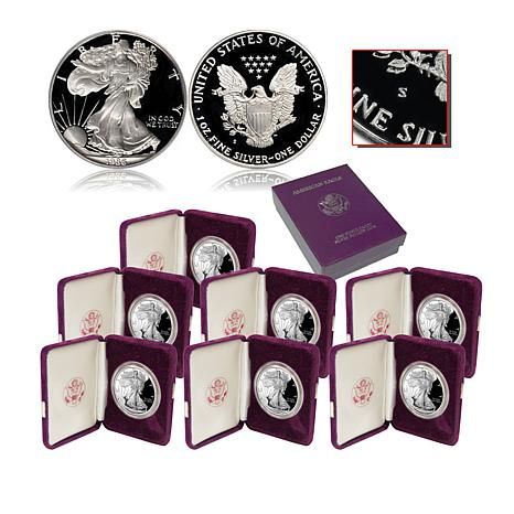 1986 - 1992 S-Mint Proof Silver Eagle Dollar Coins - Set of 7