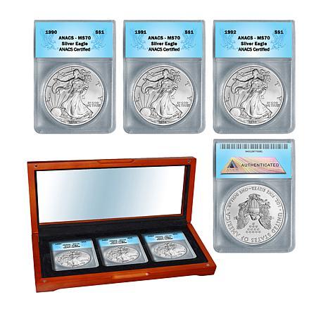 1990 - 1992 MS70 ANACS Silver Eagle 3-Coin Set