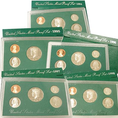 1994-1998 Green Box United States Mint Proof Sets