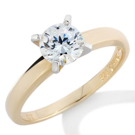 1ctw absolute gold plated sterling silver solitaire