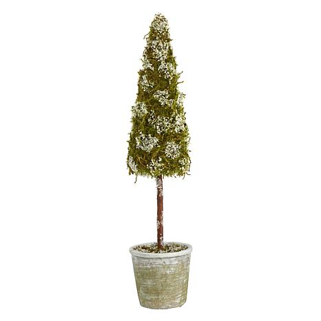 2 ft. Flocked Moss Artificial Cone Tree in Decorative Planter