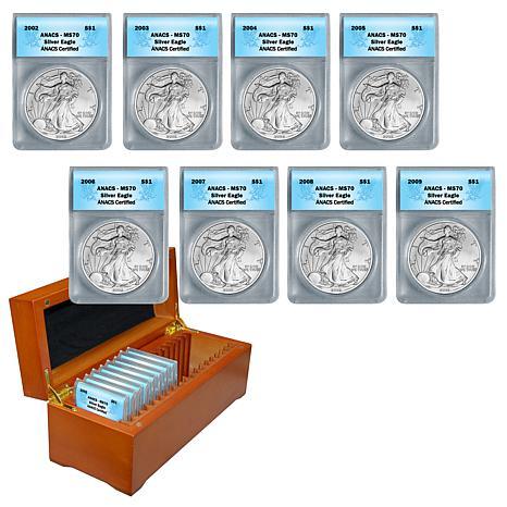 2002-2009 MS70 ANACS Silver Eagle Dollar 8-Coin Set