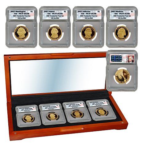 2007 PR70 ICG DCAM 4-coin Presidential Dollar Set