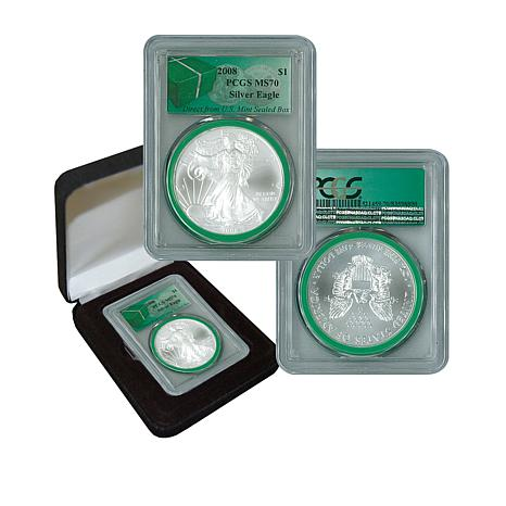2008 MS70 PCGS Silver Eagle - Monster Box Green Label