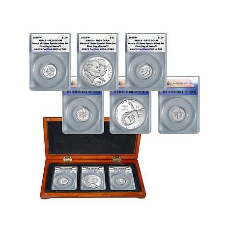 2015 ANACS 70 FDOI LE 989 March of Dimes Silver Coins