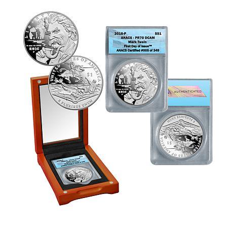 2016 Mark Twain PR70 FDOI LE 349 Silver Dollar Coin