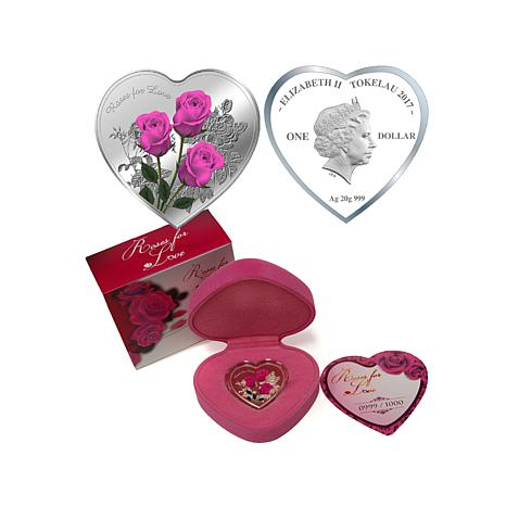 2017 Colorized Roses for Love Heart-Shaped Silver Coin