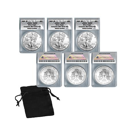 2017 MS69 PSW Silver Eagle Complete Mint Mint Set