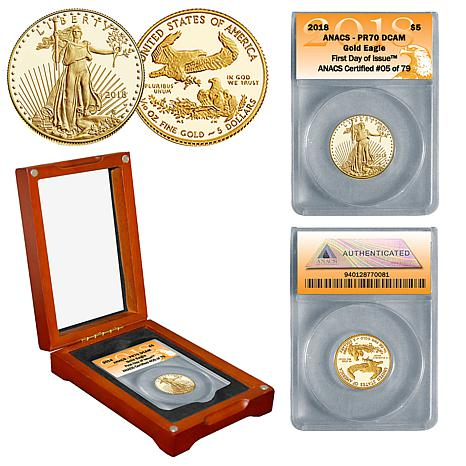 2018 PR70 ANACS First Day of Issue Limited Edition $5 Gold Eagle Coin