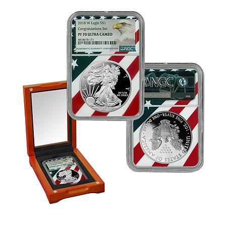 "2018-W PF70 ""Congratulations Set"" Ultra Cameo Silver Eagle Dollar Coin"