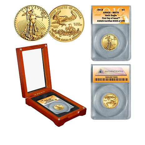 2019  MS70 ANACS First Day of Issue Limited Edition $5 Gold Eagle Coin