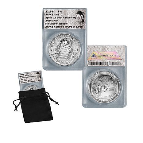 2019 MS70 FDOI LE 1969 Apollo 11 50th Anniversary 99.9% Silver Dollar