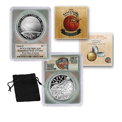 2020 PR70 DCAM PCGS FDOI Basketball Hall of Fame Silver Dollar