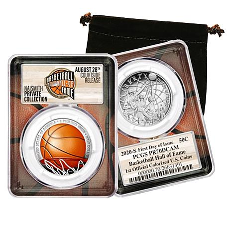2020 PR70 PCGS Colorized FDOI Basketball Hall of Fame Half Dollar