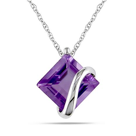 2.25ctw Amethyst 10K White Gold Pendant with Rope Chain