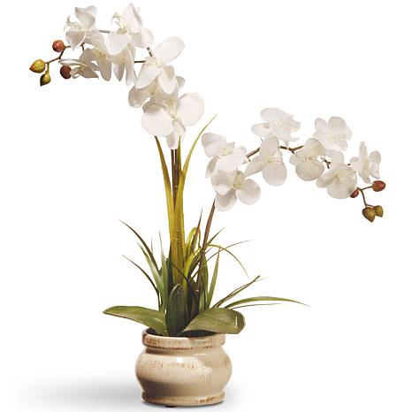 """24"""" Artificial White Potted Orchid Flower"""