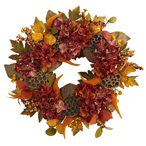 24 in. Fall Hydrangea, Lotus and Berries Artificial Wreath