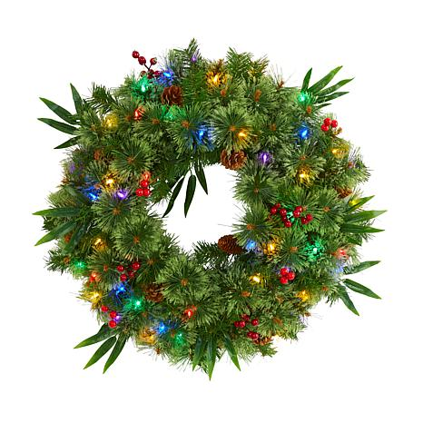 24 in. Mixed Pine Artificial Christmas Wreath with 50 Multicolored ...