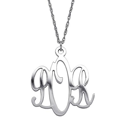3-Initial Monogram Sterling Silver Pendant with Chain