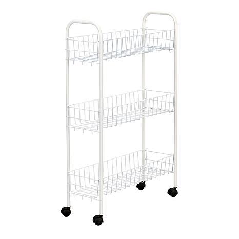3-Shelf White Utility Cart