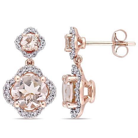 3.06ctw Morganite and Diamond 14K Double Drop Earrings
