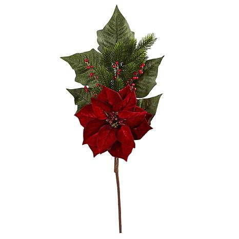 31 in. Poinsettia, Berries and Pine Artificial Flower Bundle Set of 3