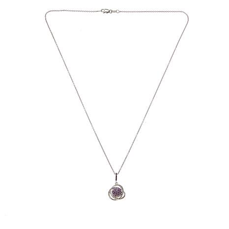 """.33ctw Purple and White Diamond Cluster Pendant with 18"""" Chain"""