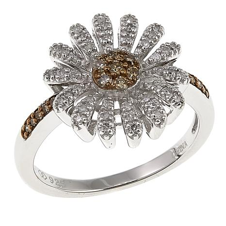 """.35ctw Champagne and White Diamond """"Floral"""" Sterling Silver Ring"""