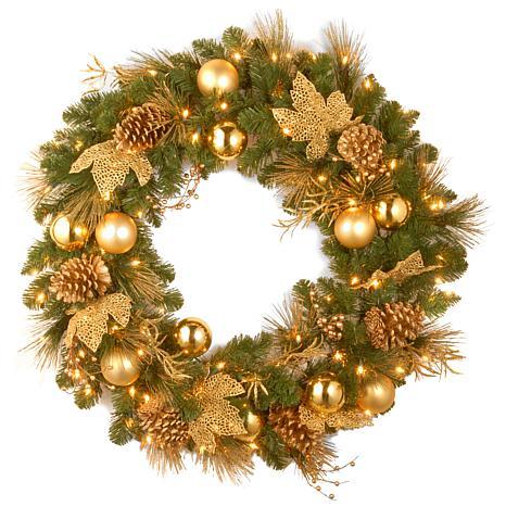 "36"" Decorative Coll. Elegance Wreath w/Lights"