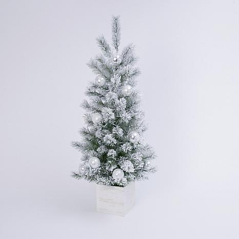 4-Foot High Electric Flocked Holiday Tree in Wooden Box