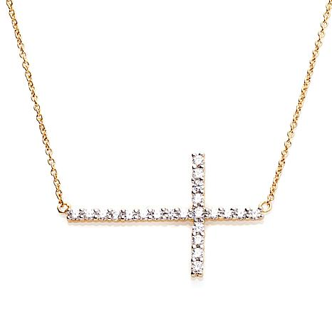 ".45ctw Absolute™ Round Sideways Cross 16"" Necklace"