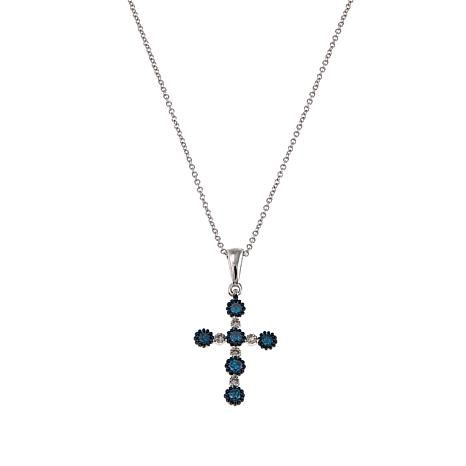 .495ctw 10K White Gold Blue and White Diamond Cross Pendant with Chain