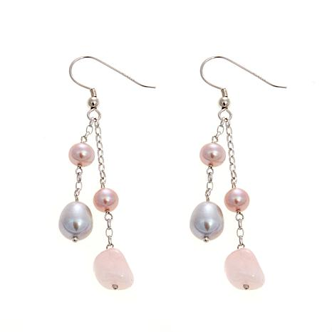 5-8mm Cultured Pearl and Rose Quartz  Earrings