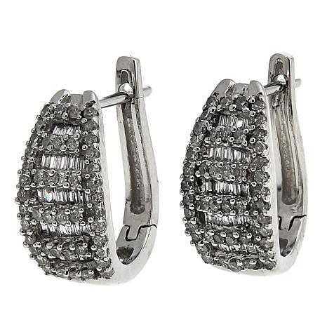 .50ctw White Diamond 14K White Gold J-Hoop Earrings