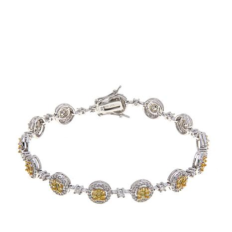 5.16ctw Absolute™ Sterling Round and Pavé Halo Bracelet