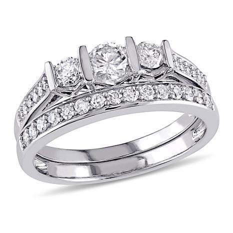 .51ctw White Diamond 10K 3-Stone Pavé Bridal Ring Set