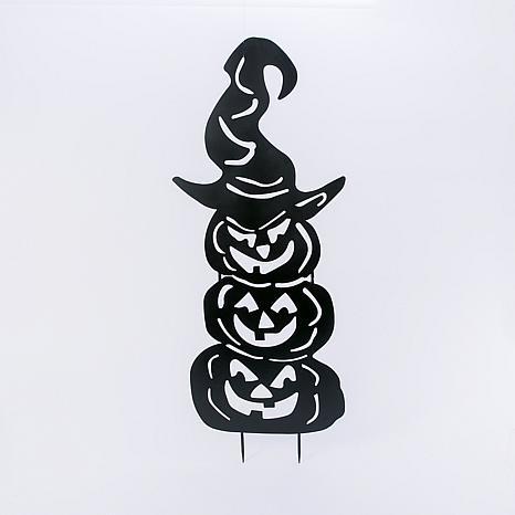 "52.3"" Halloween Stacking Pumpkins Silhouette Yard Stake"