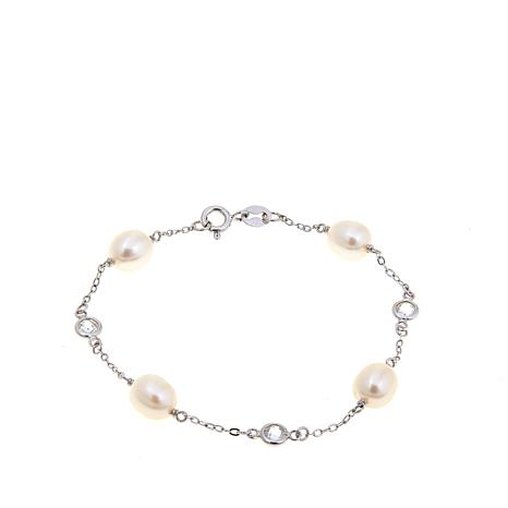 "7-7.5mm Cultured  Pearl and CZ Oval Station 7"" Bracelet"