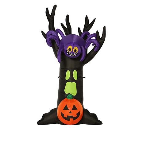 7' Inflatable Shaking Tree with Spider Halloween Yard Décor