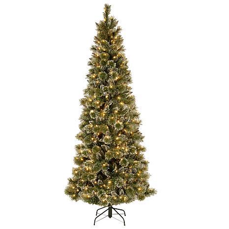 75 ft glittery bristle pine slim tree with soft white led lights