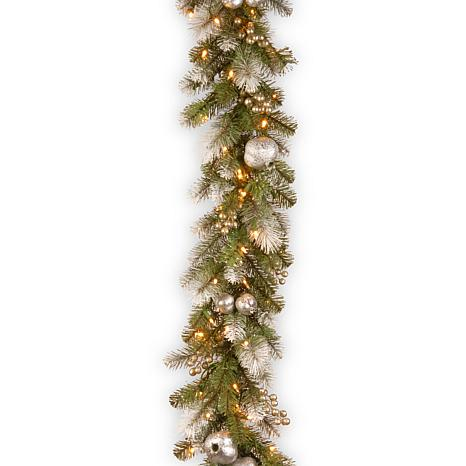 9' Glittery Pomegranate Pine Garland with Clear Lights