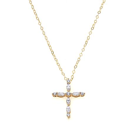 .93ctw Absolute™ 10K Marquise and Round Cross Pendant